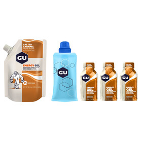 GU Energy Gel Kombipaket Salted Caramel Vorratsbeutel 480g + Gel 3 x 32g + Flask